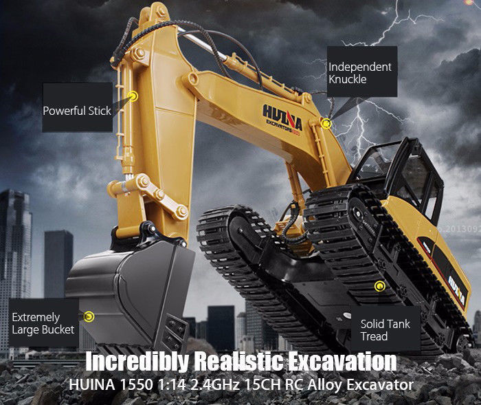 HUINA 1550 1:14 2.4GHz 15CH RC Car Alloy Excavator RTR Auto Demonstration Gifts