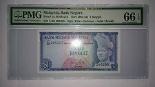 PMG 66 EPQ ISMAIL ALI RM1 1st Series Banknote GEM UNC Solid Security Thread