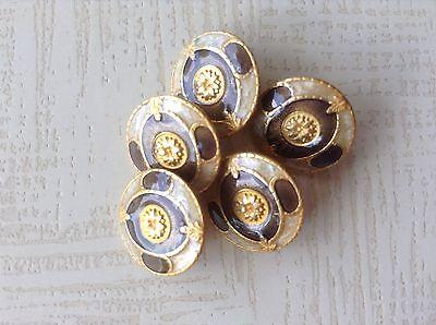 LOTTO 5 MINI bottoni gioiello ORO  moda vintage ANNI 70 BUTTONS KNÖPFE  COUTURE