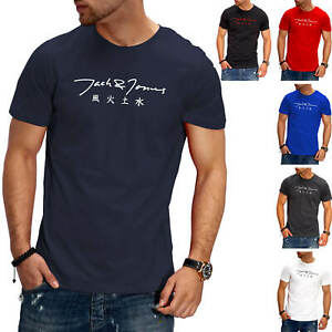 Jack-amp-Jones-T-Shirt-Hommes-O-Neck-Print-Shirt-manches-courtes-Shirt-Casual-streetwear