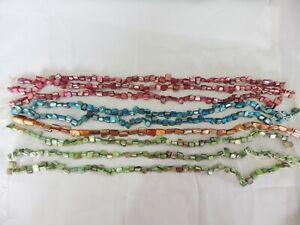 JOB-LOT-of-10-x-16-034-string-x-Dyed-Shell-Irregular-Chip-Beads-Set-B