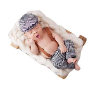 Newborn Baby Photo Photography Props Tweed Suspender Braced Trousers Flat Cap