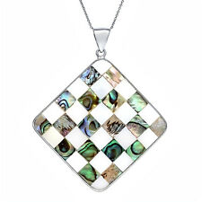 Beautiful Square Shape Mother of Pearl MOP Checkerboard Pendant 40mm x 40mm