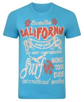 New Mens Conspiracy California Print Cotton T-shirt CALI Surf Yellow White Blue
