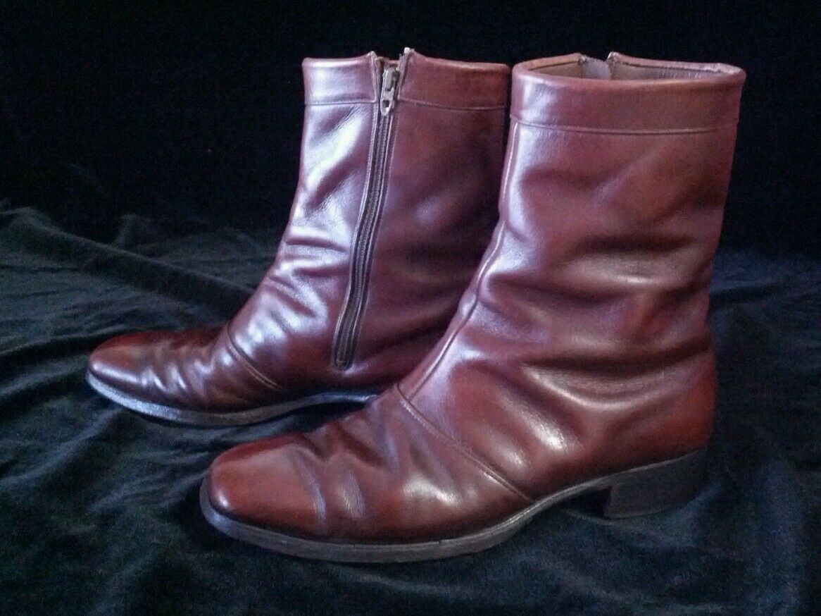 Vintage Nettleton Dark Brown Leather Dress Style Boots Shoes Size 10 AA/B