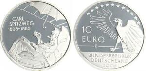 10 Birthday Carl Spitzweg 2008 Mint Mark D Pf, IN Coin Capsule 45439