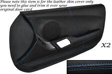 BLUE STITCH 2X FULL DOOR CARD LEATHER SKIN COVER FITS TOYOTA SUPRA MK4 93-02