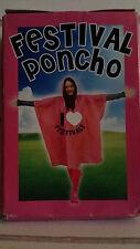 Retro Rosa Festival Con Capucha De Plástico Poncho de lluvia. un tamaño en caja original.