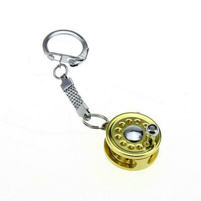 Fishing Reel Key Chain Miniature Novelty Ring Fly Keychain Keyring Metal Gift