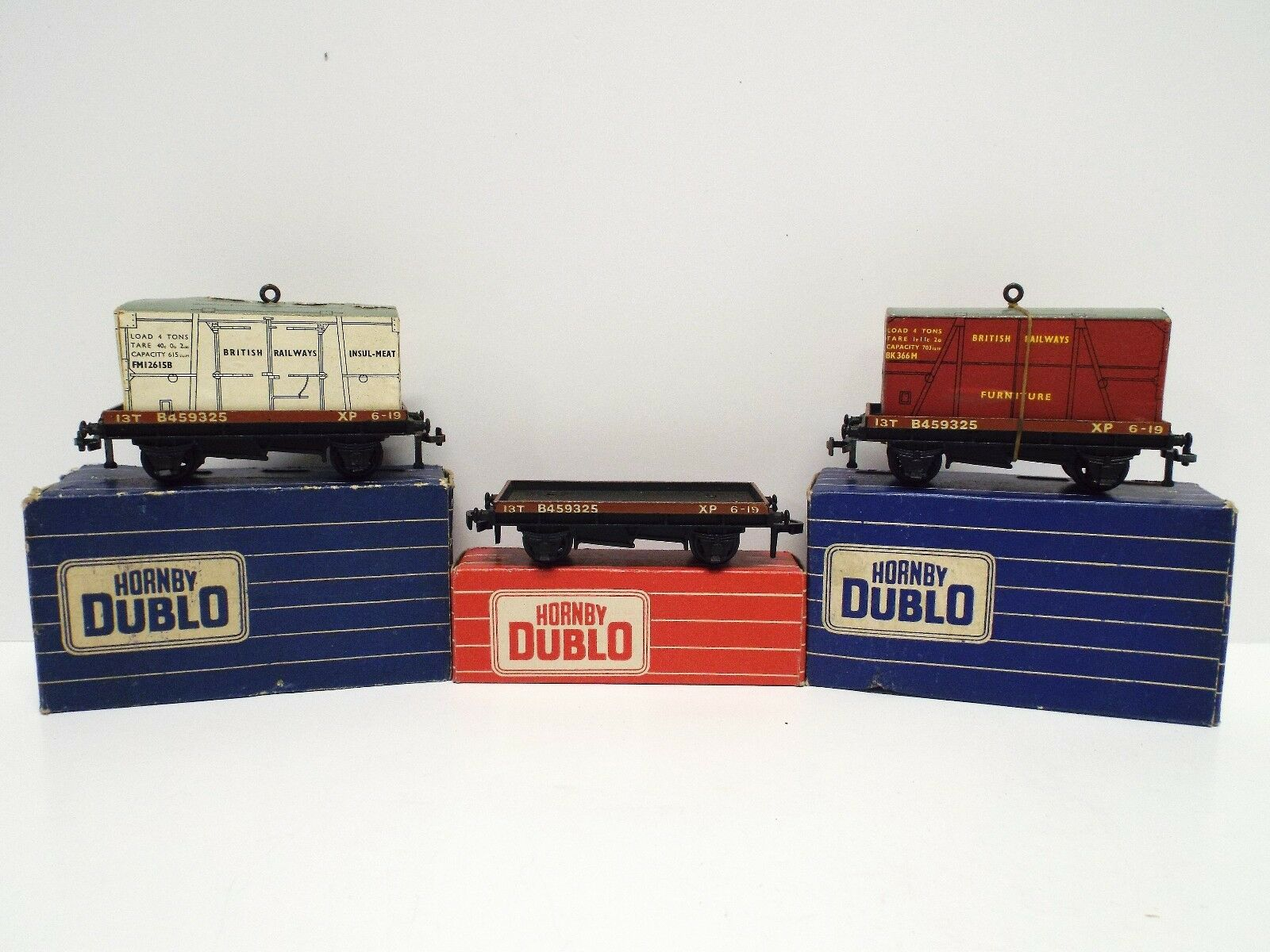 HORNBY DUBLO 2/3-RAIL X3 WAGONS 4645 32087 & 32088 LOW SIDED WAGONS BOXED  C378