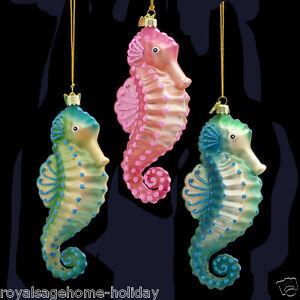 Nb0475 Noble Gems Seahorse Glass Christmas Ornament