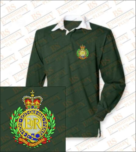 Royal Engineers Embroidered Crested Premium Long Sleeved Rugby Shirt