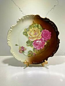 Antique-c-1880-1918-Zeh-Scherzer-Z-S-amp-Co-Bavaria-Yellow-Pink-Roses-Wall-Plate