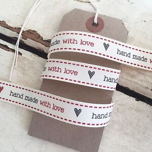 6ad7ea2d64a42 Details about Hand Made with Love Red & Black 15mm Cream Ribbon - Handmade  Gifts Labels Craft