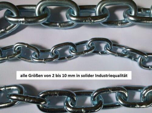 Profi Stahlkette Eisenkette Rundstahlkette 2,4,6,8,10 mm in Industriequalität!