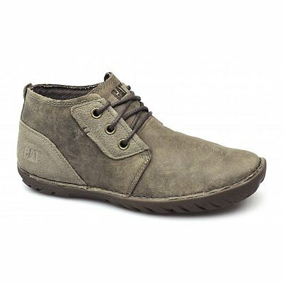 Caterpillar CAT LEROY MID Mens Leather Suede Lace-Up Chukka Boots Beaned Beige