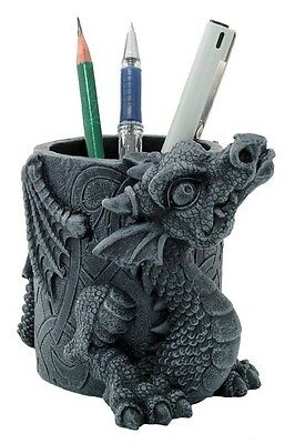 STONELIKE BABY DRAGON STATIONERY UTILITY HOLDER FIGURINE STATUE GOTHIC CREATURE