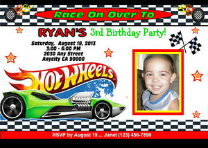 photo regarding Hot Wheels Printable named Facts concerning Very hot WHEELS RACING Personalized PRINTABLE BIRTHDAY Bash INVITATION  Cost-free TY CARD