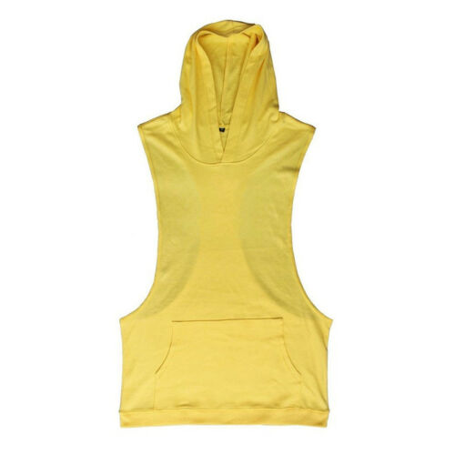 Men Summer Stringer Hoodie Tank Top Muscle Fitness Sports Hooded Shirt Vest Tops
