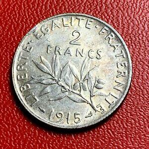 3796-RARE-2-francs-1915-Semeuse-Argent-SUP-FACTURE