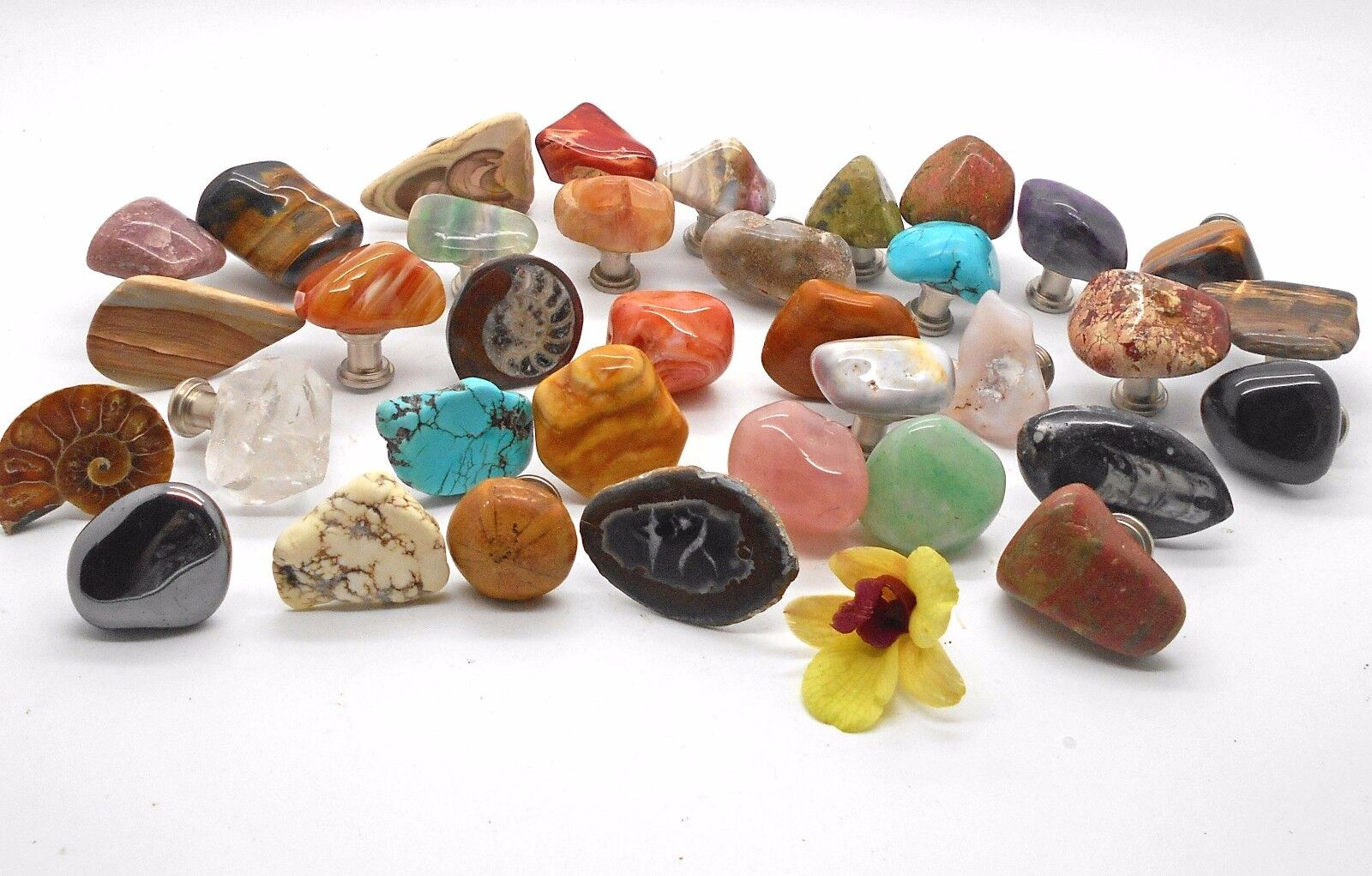48 Assorted Polished Stone Cabinet Knobs and Drawer Pulls