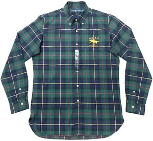 Ralph-Lauren-Men-039-s-Custom-Fit-Shirt-in-Green-Navy-Check-Size-M