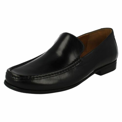 Mens Clarks Claude Plain Black Leather Smart Slip On Loafers H Fitting
