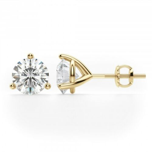 1 Ct Round 18K solide or jaune taille brillant Martini Screwback Clous D/'Oreilles