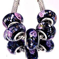 5Pcs GF Silver Black Crystal MURANO GLASS BEADS Fit European DIY Bracelet D8251