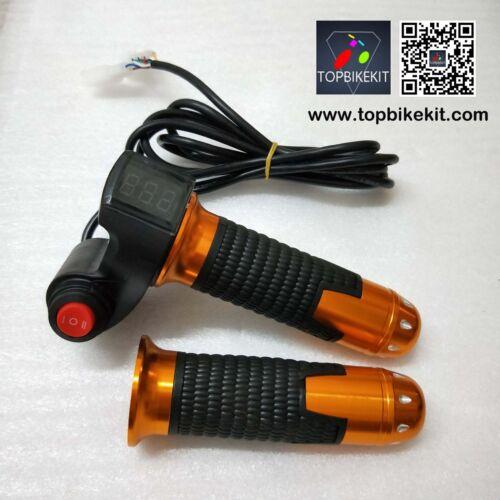 12V-84V Twist Grips Throttle Handlebars LED Display with 3 Speed Switch Ebike