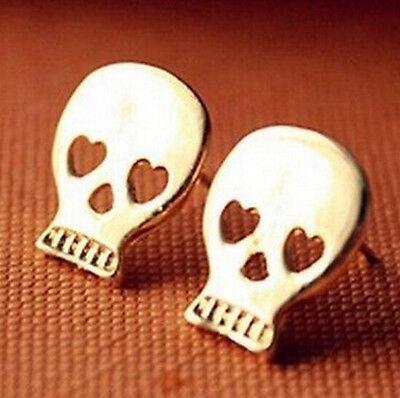 Golden Plated Retro Vintage Wishing Retro Earrings Stud Jewelry ~Skull :)
