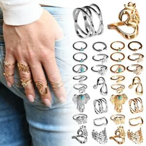 Set-Fingerring-Ring-Fingerspitzenring-Knuckle-Nagelring-Obergelenkring-Silbern