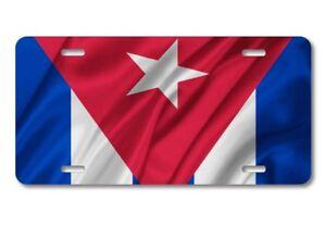 Cuba Cuban Waving Flag Aluminum License Plate Auto Tag