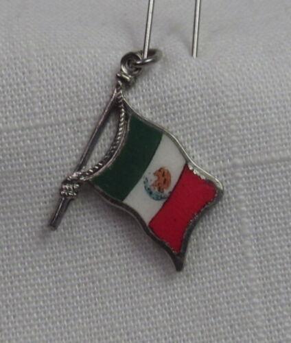 NOS Vintage REU Sterling//Enamel Mexico Flag Shaped Bracelet Charm