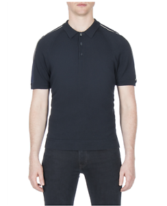 Ben Black Polo amp; Medium Placket Sale navy Piped Sherman® White rOxrwfpq