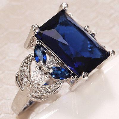 Huge Women 925 Silver Sapphire Gemstone Size 9 Wedding Bridal Engagement