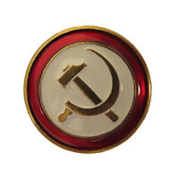 Genuine HAMMER AND SICKLE Badge - Russian Soviet Era Red Army Brass Clutch Pin