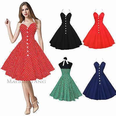 Maggie Tang 50s 60s Swing Polka dot Dress Pinup Vintage Rockabilly Retro 525