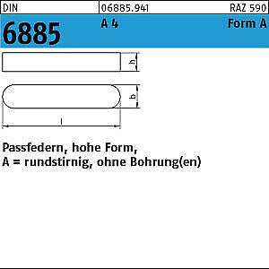 10 Passfedern DIN 6885 A4 A 8x7x30 V4A Edelstahl
