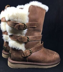 9ce3d5c0a0e Details about Ugg Becket Chestnut Water resistant Leather Sheepskin Buckle  Boots US 6 Womens