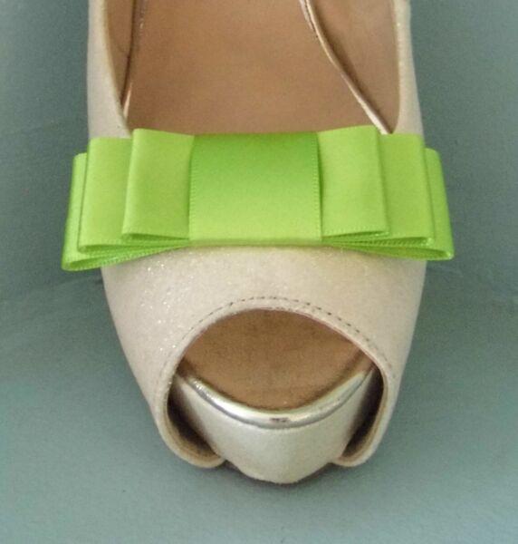 Verde Lima De 2 Clips Para Zapatos Arco Triple-otros Colores A Petición-ver Excelente (In) Calidad