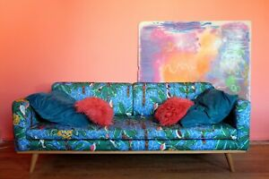 Blue-Tropical-Flower-Print-Sofa-Swoon-Limited-Edition-3-Seater