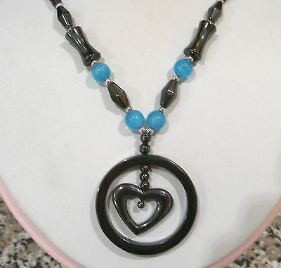 """HEMATITE BLUE CATS EYE BEADED HEART CIRCLE PENDANT NECKLACE MAGNETIC CLASP 18"""""""