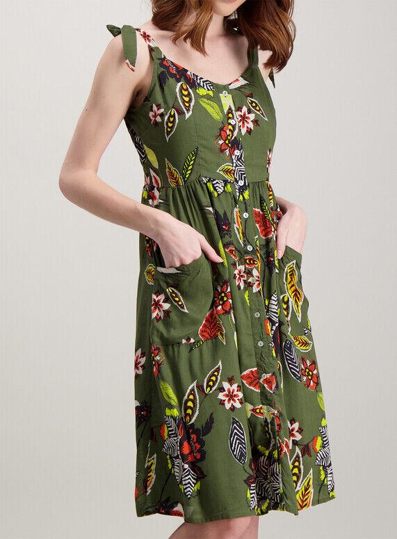 1950 S Robe Style Robe D'été Vert Kaki Motif Floral Cravates Boutons Poches Tu Sz 14 New