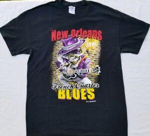 cfff9f07263 New French Quarter's Blues Skeleton Guitar T-shirt Men's Sz Medium ...
