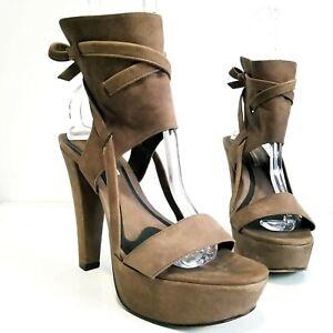 VERA WANG LAVENDER Brown Leather Platform Open Toe Sandals Heels Womens Size 9.5
