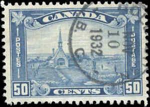 1930-Used-Canada-50c-VF-Scott-176-King-George-V-Arch-Leaf-Stamp