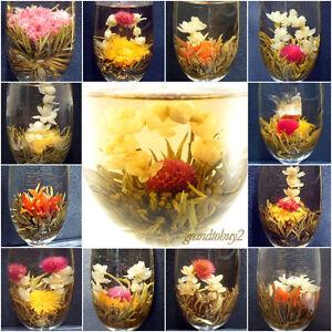 New-6-BLOOMING-FLOWER-FLOWERING-JASMINE-GREEN-CHINESE-TEA-BALL-HANDMADE-BAG
