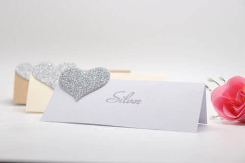 PERSONALISED TABLE NAME PLACE CARDS SEATING PLAN WEDDING ENGAGEMENT PARTY HEART