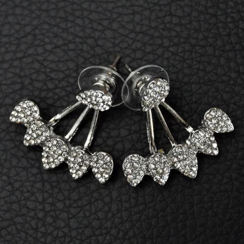 Women Pretty 1 Pair Crystal Ear Stud Simple Rhinestone Water Drop Shape Earrings